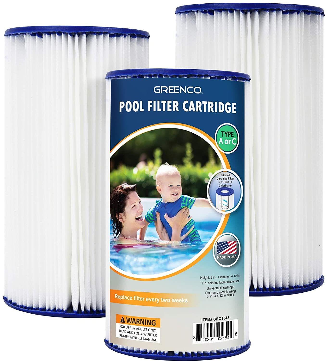 Greenco GRC1548 Cartridges Type A or C Replacement with Build-in Chlorinator-Set of 3 Pool Filter