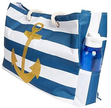 6db3e3ddfc Amazon.com   Beach Bag XL, Waterproof Lining, Travel Tote Bag, Zipper  Closure, Inner Pockets   Travel Totes