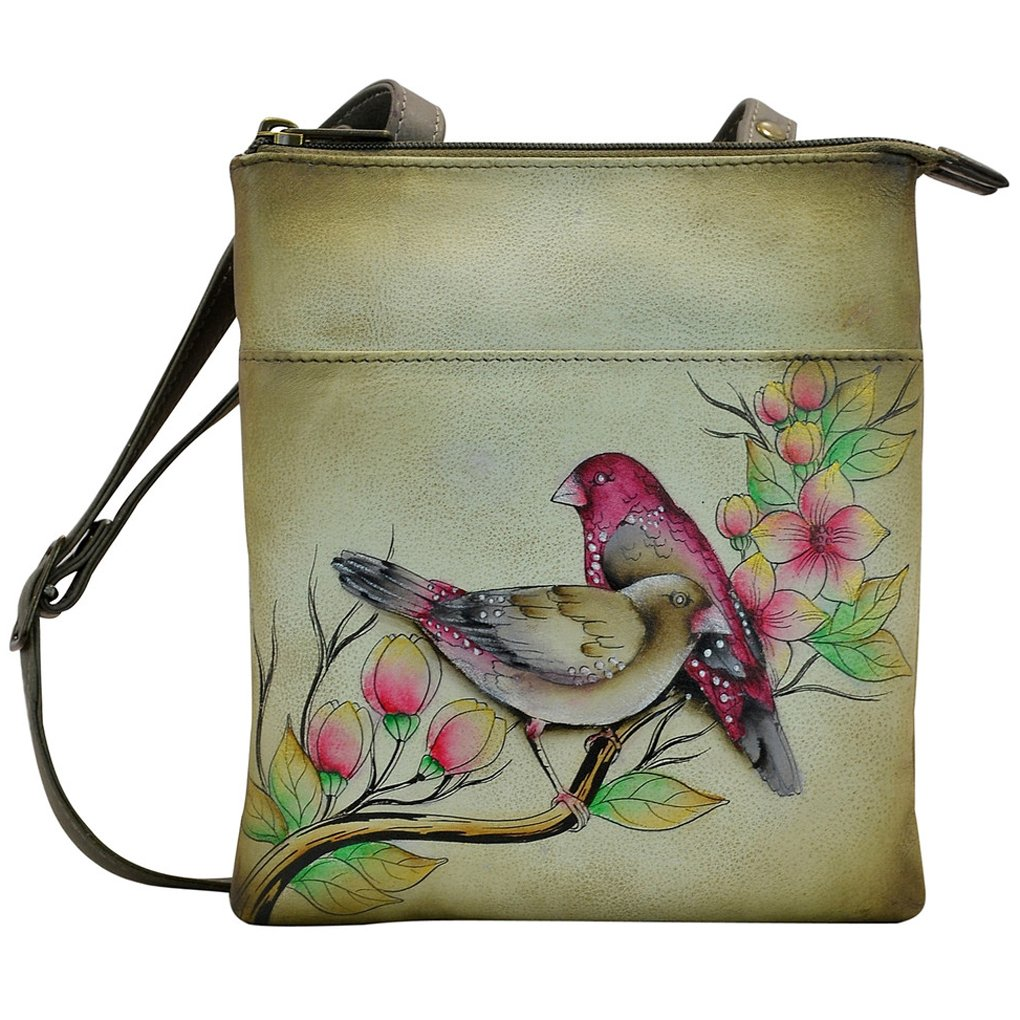 Anuschka RFID Blocking Travel Bag - Triple Compartment - Handpainted Leather (Summer Tryst)