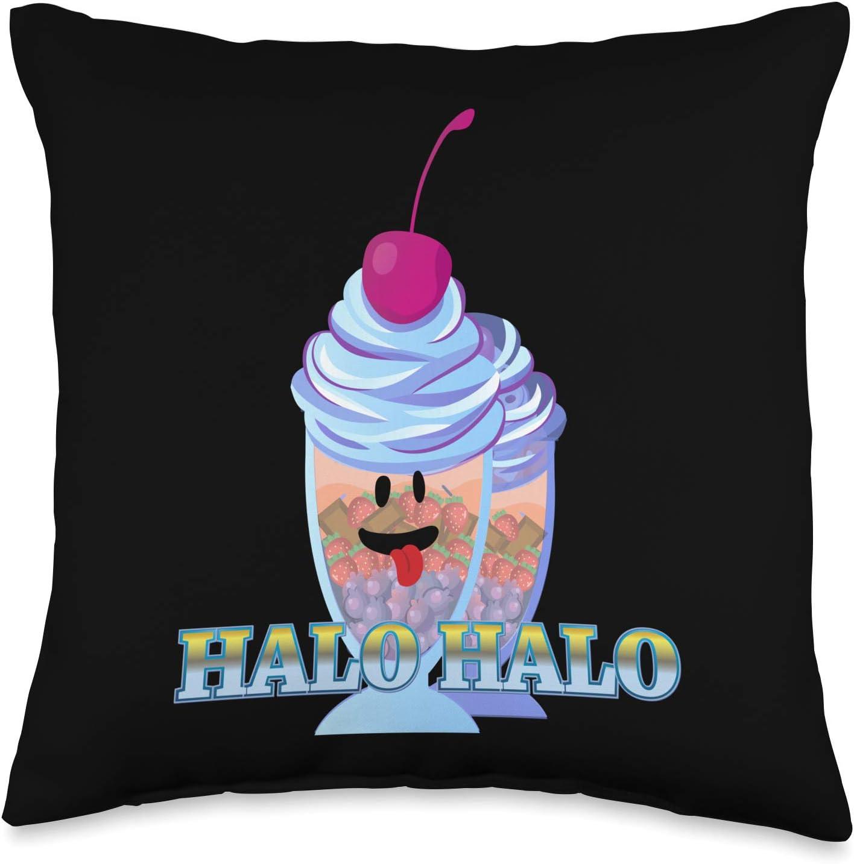 Philippines Filipino Popular Food Throw Pillows Halo Filipino Dessert Ice Cream Throw Pillow, 16x16, Multicolor