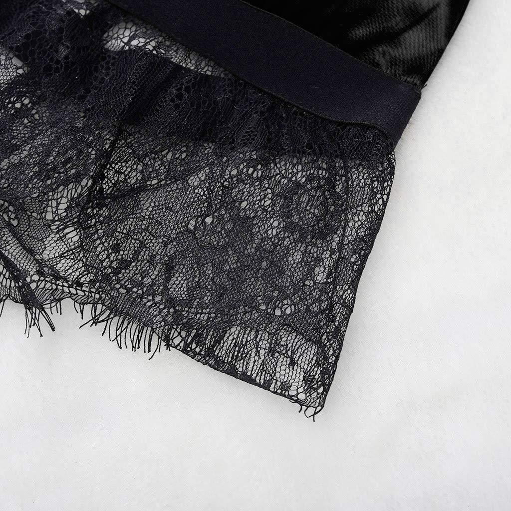 JFLYOU 2019 Womens Sexy Satin Sling Lingerie Lace Bowknot Nightdress Sleepwear 2 PCS(Black,L) by JFLYOU-lingerie (Image #3)
