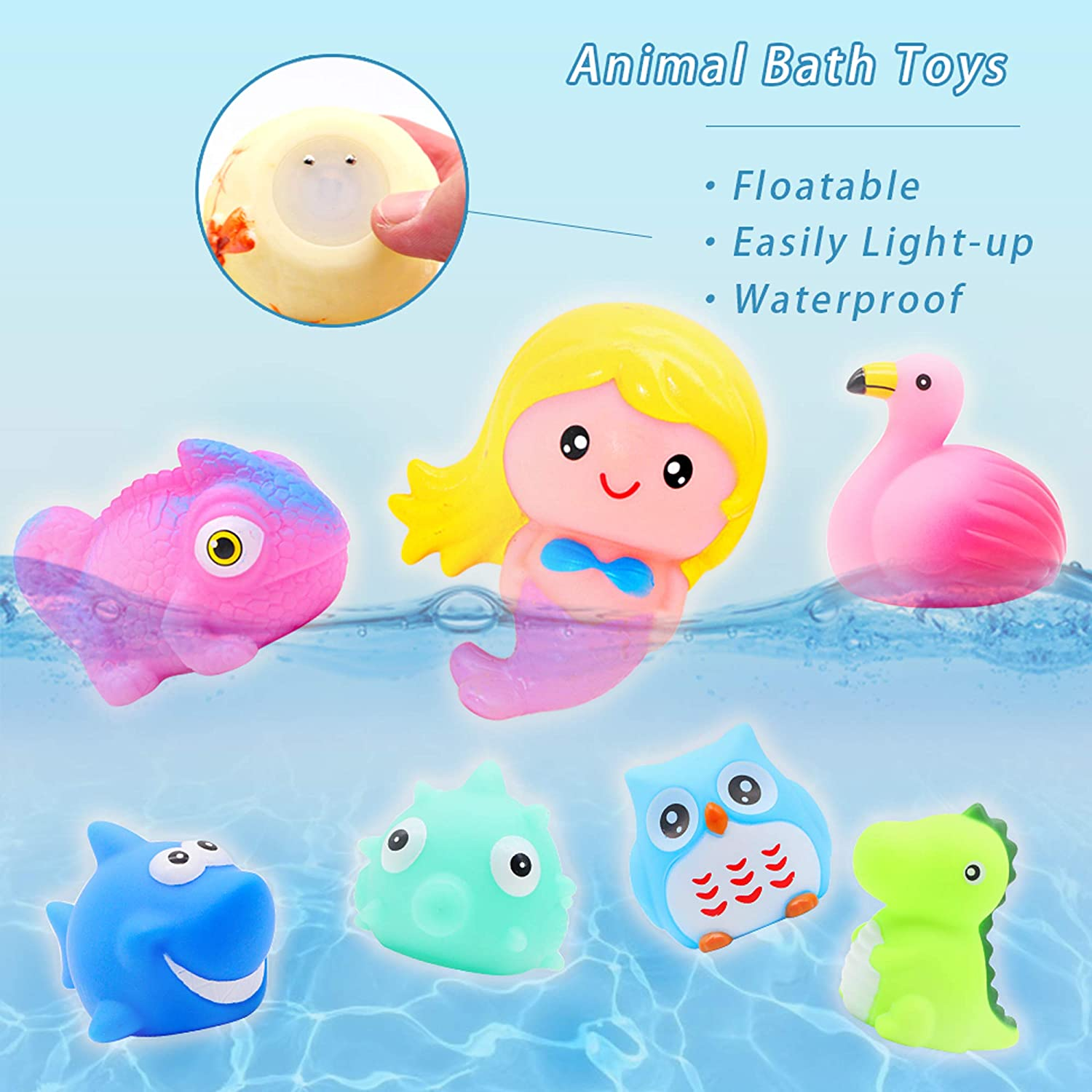 yoliyogo Animal Toy Bath/ Floating Toy with Auto/ Flashing Early Learning Toy Package with 8 Pcs Dinosaur Shark Flamingo Mermaid Etc Bathtub Shower Toy Gift for Kids/&Pets