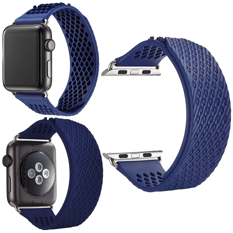 シリコン時計バンド、ZXK Coソフトシリコンクイックリリーススポーツ時計ストラップリストバンド38 mm / 42 mmゴムBarcelet for Apple Watchシリーズ1、2シリーズ、シリーズ3 38mm|ブルー ブルー 38mm B077GSSSXB