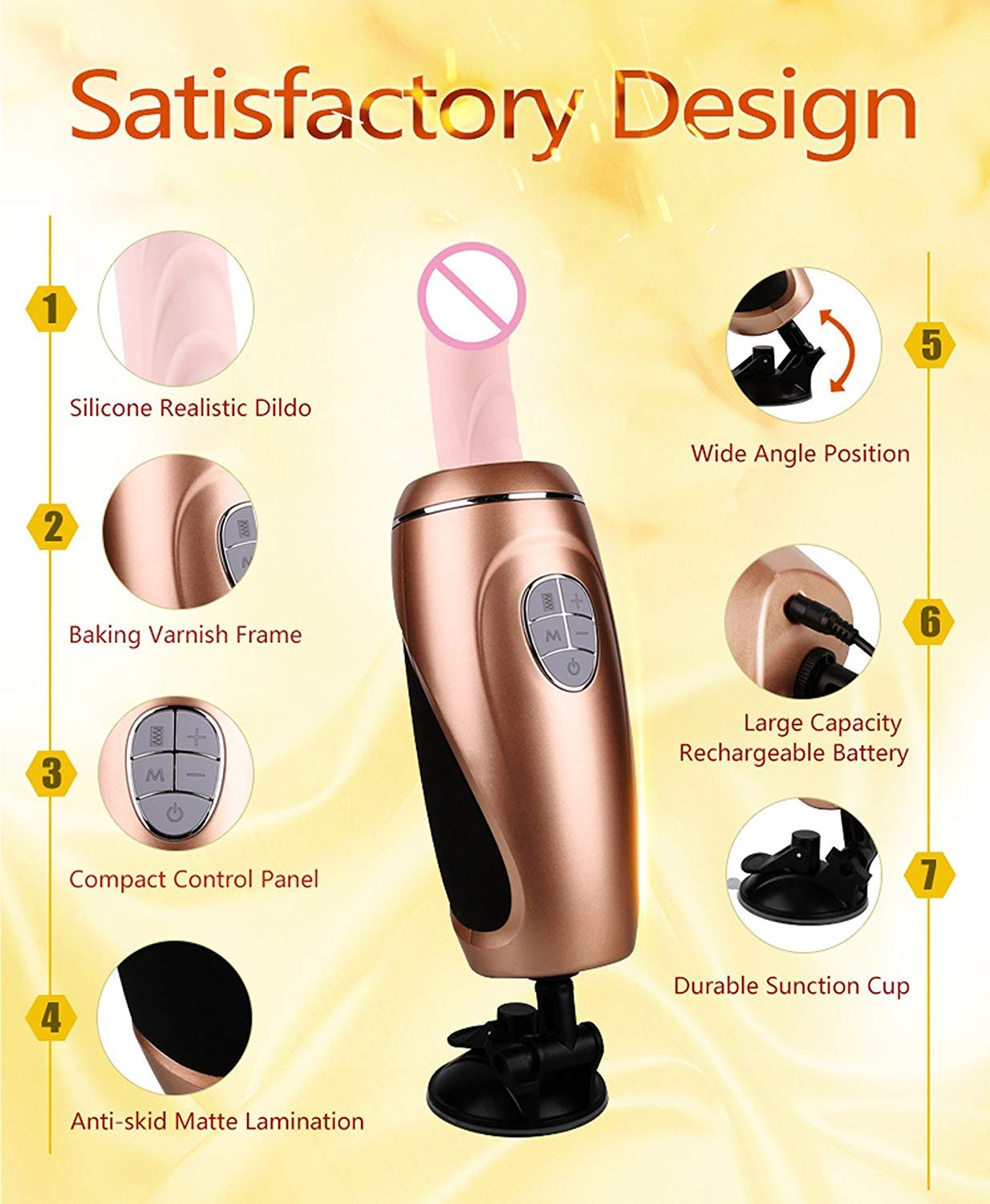 USEXMTY S-Tshirt Adult Toys ORGAT Remote Control Sex Machine Gun Automatic Thrusting P-énis Vibrator Suction Cup Female Masturbation Adult Seeex-Toys for Woman,Gold Cleverly by USEXMTY S-Tshirt (Image #6)