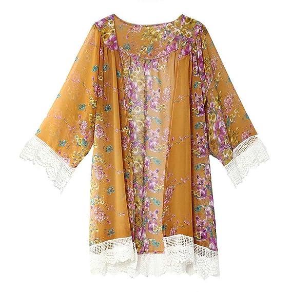 DEELIN Verano De Gran TamañO De Las Mujeres De Encaje Estampado De La Gasa Protector Solar Chal Kimono Rebeca Camisa Blusa: Amazon.es: Ropa y accesorios
