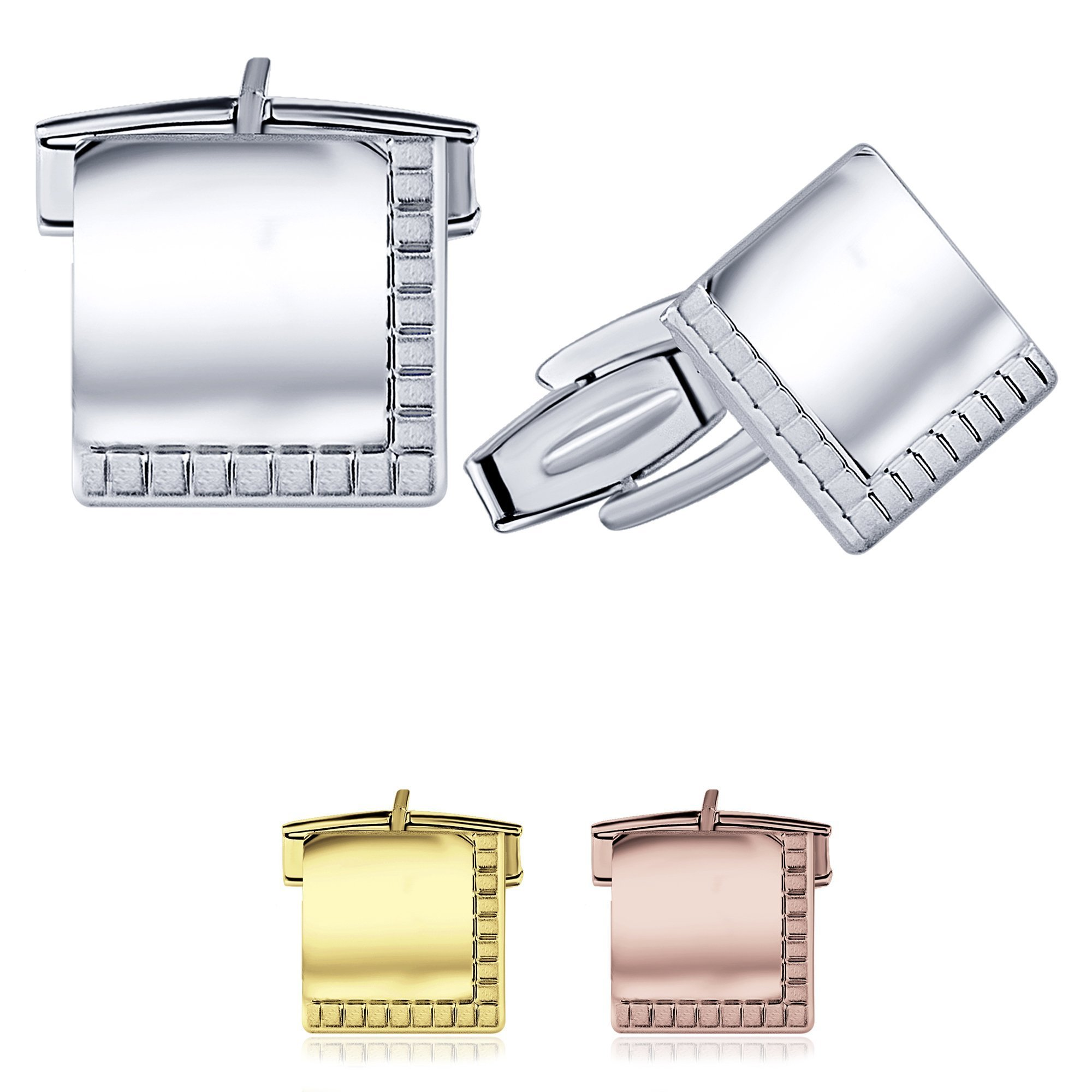 Sterling Manufacturers Elegant Square Cufflinks for Men, 925 Sterling Silver Jewelry with Satin Finish Accent, 14mm, Engravable, Made in Italy