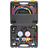 4 Way AC Diagnostic Manifold Gauge Set, Fits R134A R410A and R22 Refrigerants, with 5FT Hose, 3 ACME Tank Adapters…