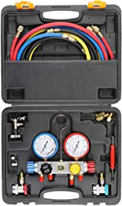 4 Way AC Diagnostic Manifold Gauge Set, Fits R134A R410A and R22 Refrigerants, with 5FT Hose, 3 ACME Tank Adapters, Adjustable Couplers and Can Tap