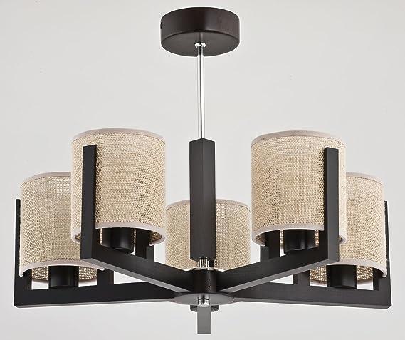 Bauhaus - Lámpara de techo (5 focos E14 Cilindro oscura ...