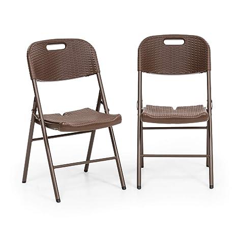 Blumfeldt Burgos Seat Silla Plegable Lote de 2 Unidades (46 x 88 x 50 cm, Barras de Acero y HDPE, Aspecto de Mimbre simulado, fácil de Limpiar y ...