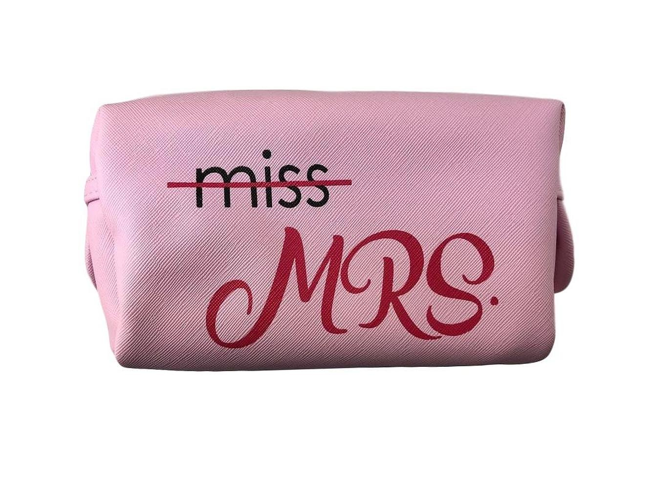 Bride Makeup Bag Cosmetic Case MRS, Wedding Day, I Do in Colors (Pink Miss to MRS)