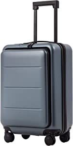 COOLIFE Luggage Suitcase Piece Set Carry On ABS+PC Spinner Trolley with pocket Compartmnet Weekend Bag(Night navy, 20in(carry on))
