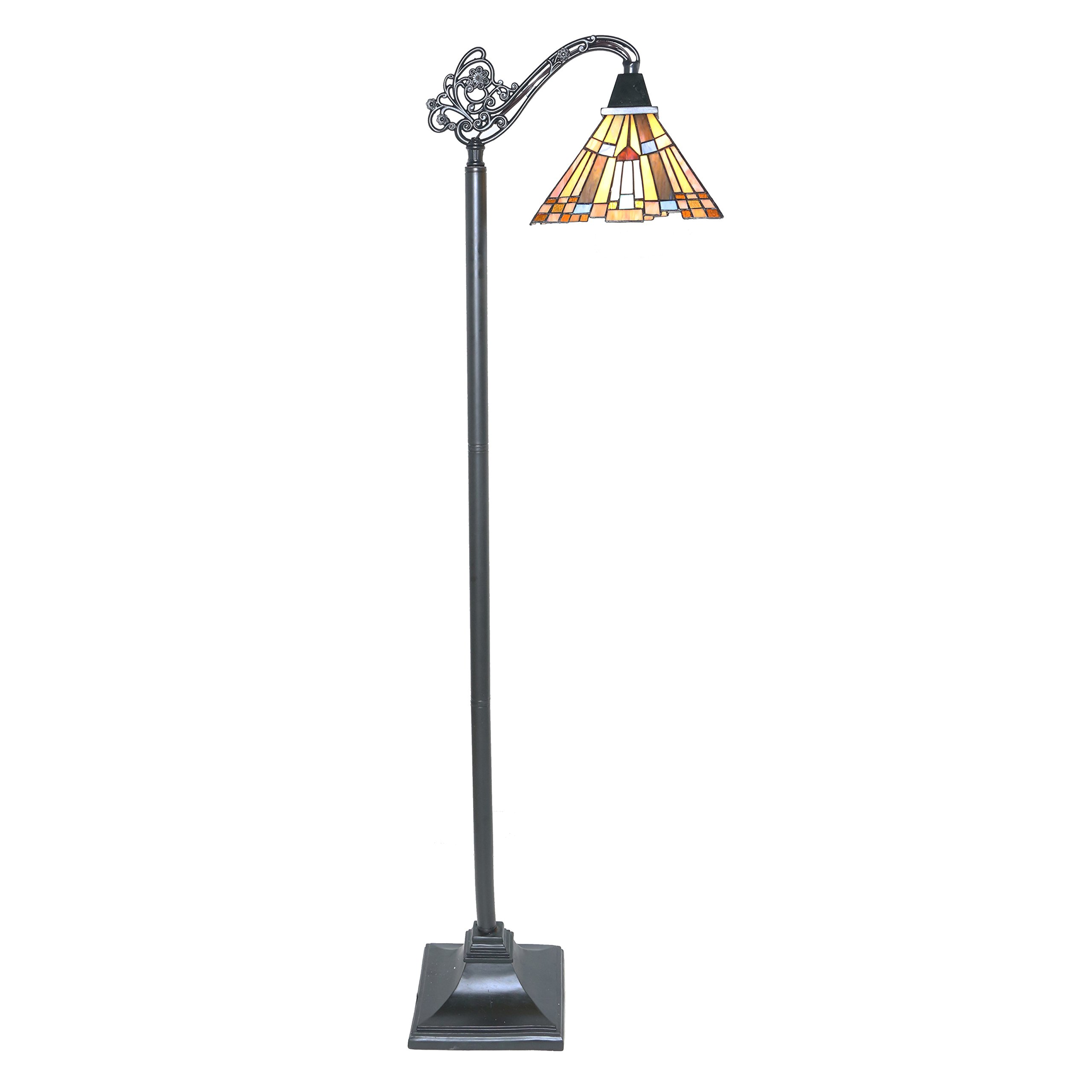 61'' H Stained Glass Mission Style Pharaoh's Jeweled Sidearm Floor Lamp