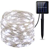Criacr Solar Powered String Lights, (100 LED 2 Modes) Starry Fairy Lights, 33 ft/10m Solar Fairy Lights, Waterproof 1.2 V Portable with Light Sensor for Patio, Garden, Home, Wedding, Party (White)