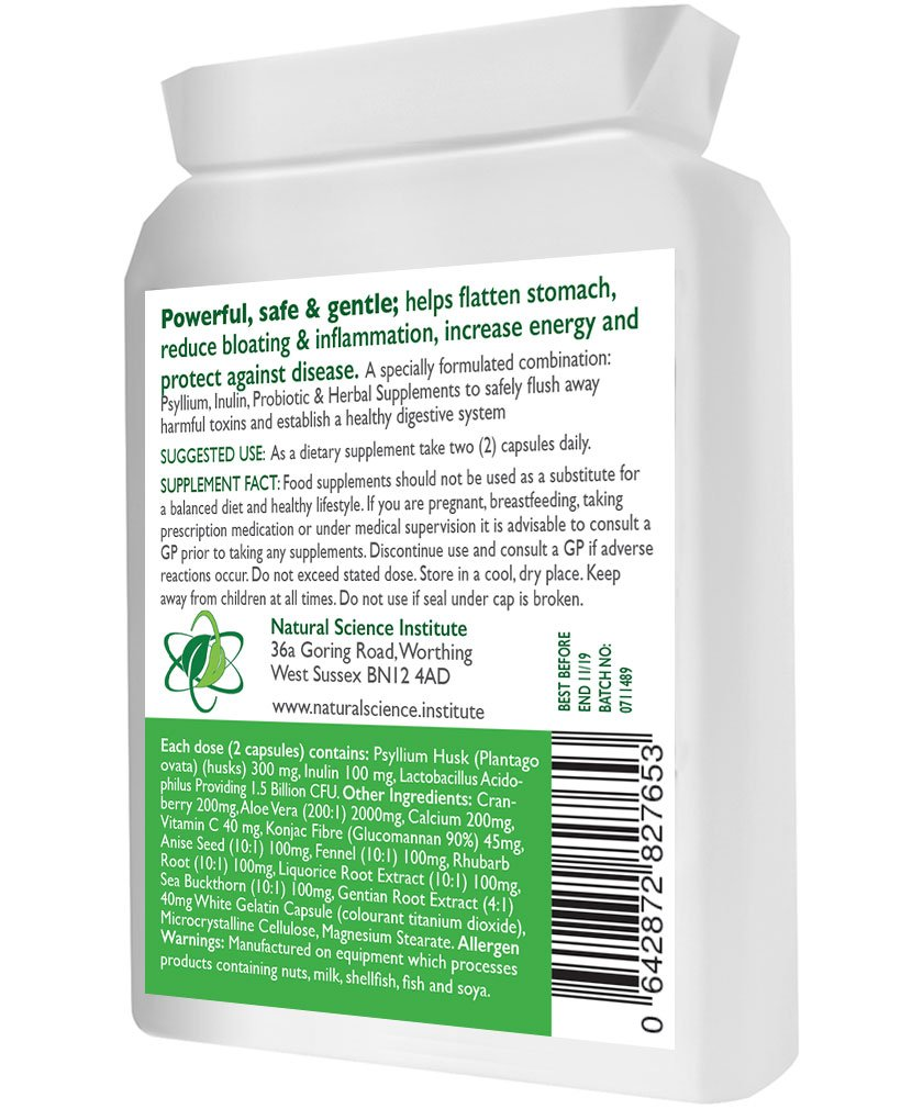 Colon Bowel CLEANSE, DETOX, PROBIOTIC - combinación ideal; psyllium, probiótico - fuerte pero suave + 3 Billion Friendly Bacteria + arándano, Aloe Vera, ...