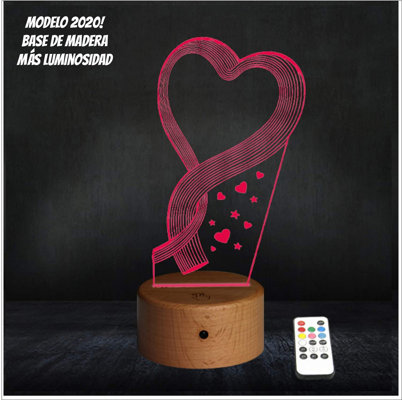 RecontraMago Lamparas de Mesa de Noche - Madera 2020 Modelo Led con Tu Forma Favorita - Lamparas Infantiles de Decoración - Regalo Original para Niños Tactil Modernas Salon (Corazon)