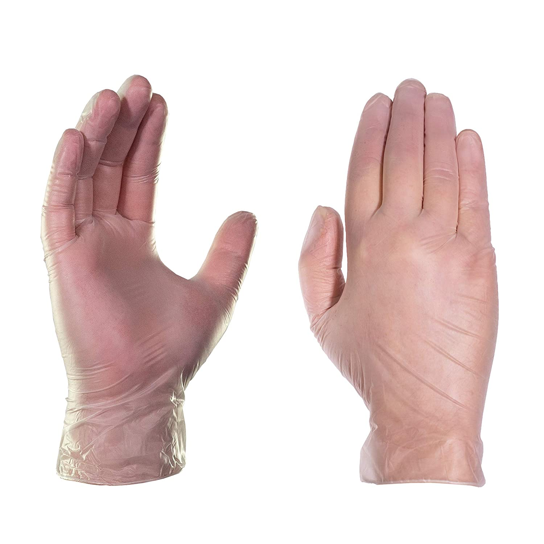 AMMEX - VPF64100-BX Vinyl Disposable Gloves -Medical Exam, Powder Free, 4 mil, Medium, Clear (Box of 100)