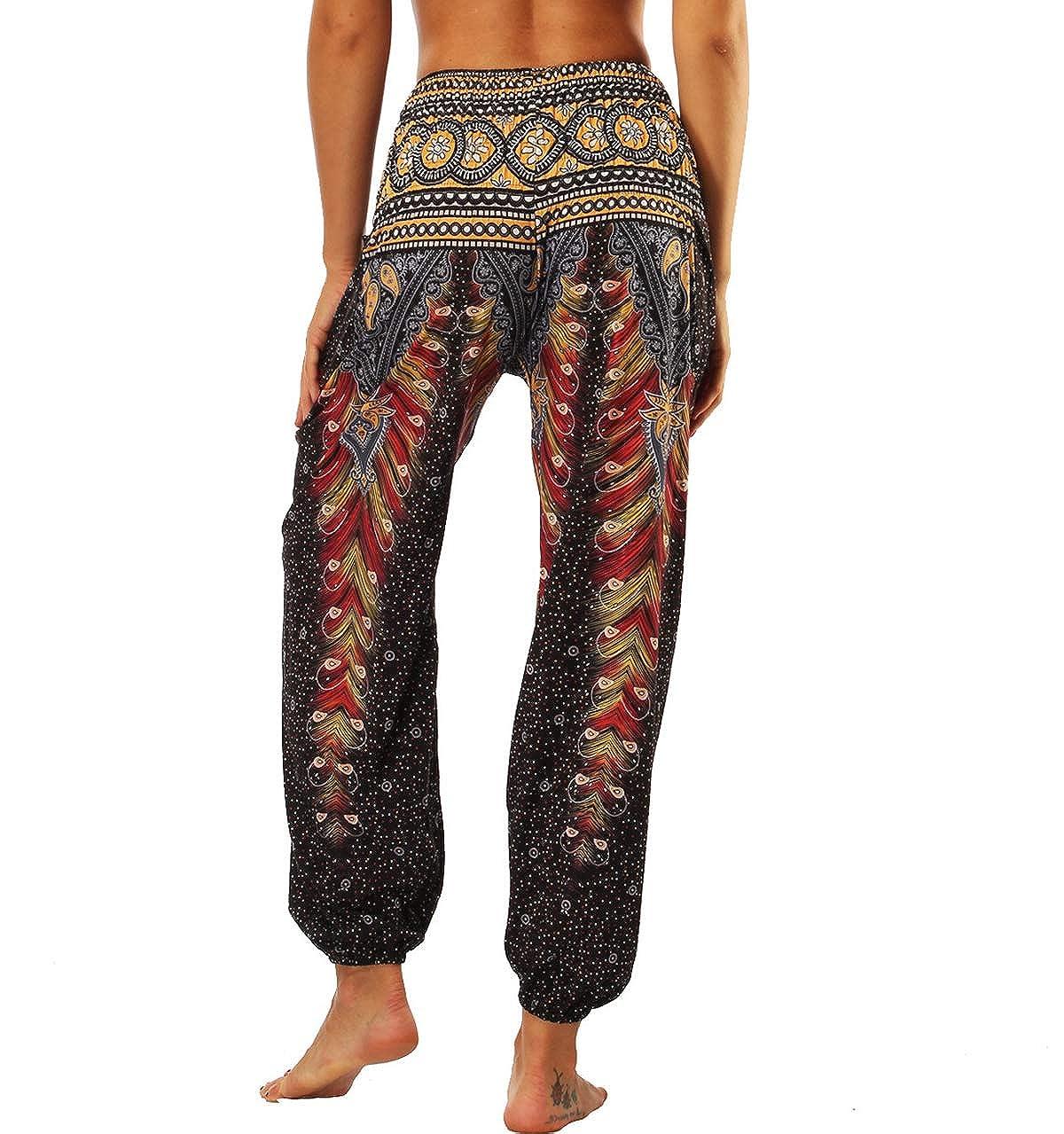 Pantaloni Harem Donna Pantalone Aladino Yoga Boho Baggy Ampi Larghi Leggeri Estivi Pantaloni Hippie Smocked Waist con Tasconi Etnici Classici Casual Sportivi Largo Hip Hop Jogging Festival Eleganti