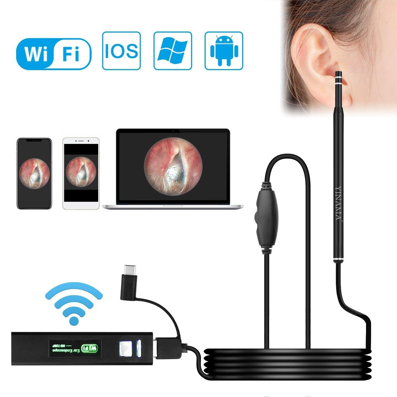 Ear Cleaning Endoscope WiFi YINAMA Ear Otoscope Borescope Inspection Camera HD Ear Cleaning Endoscope 5.5MM Lens Wireless Otoscope Digital Ear Scope Camera Android iOS Smartphones Windows MAC