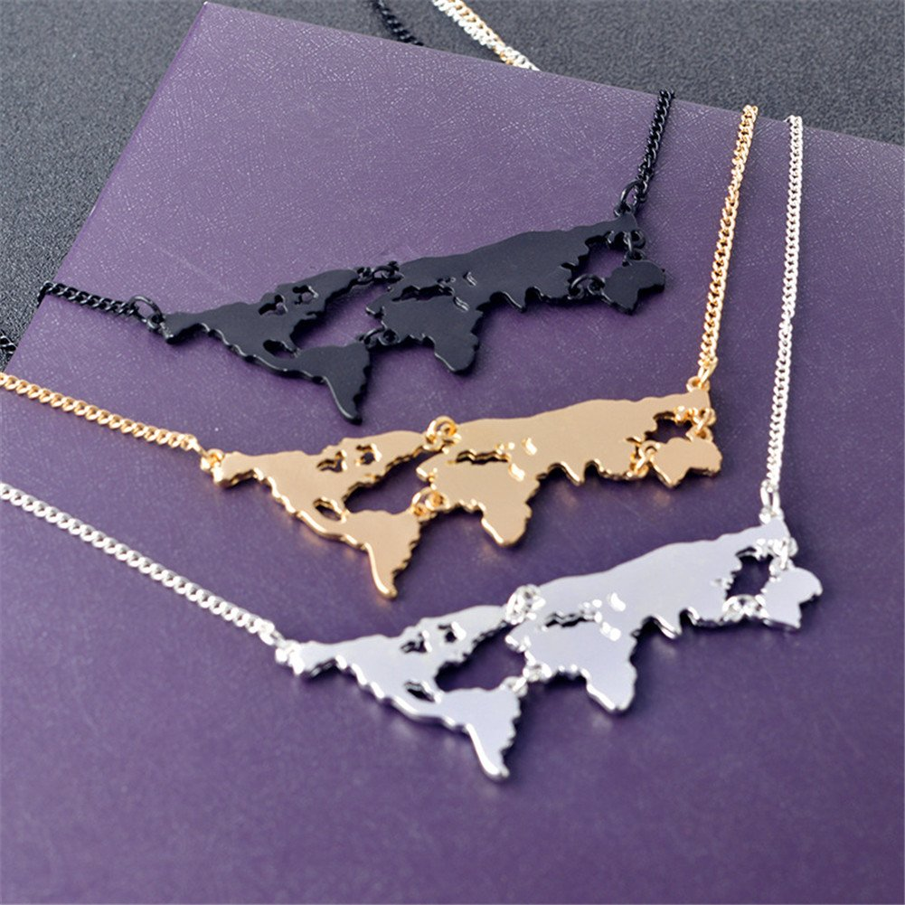 nl005819 LUREME New Creative Metal World Map Pendant Necklace for Women Men Jewelry Gift