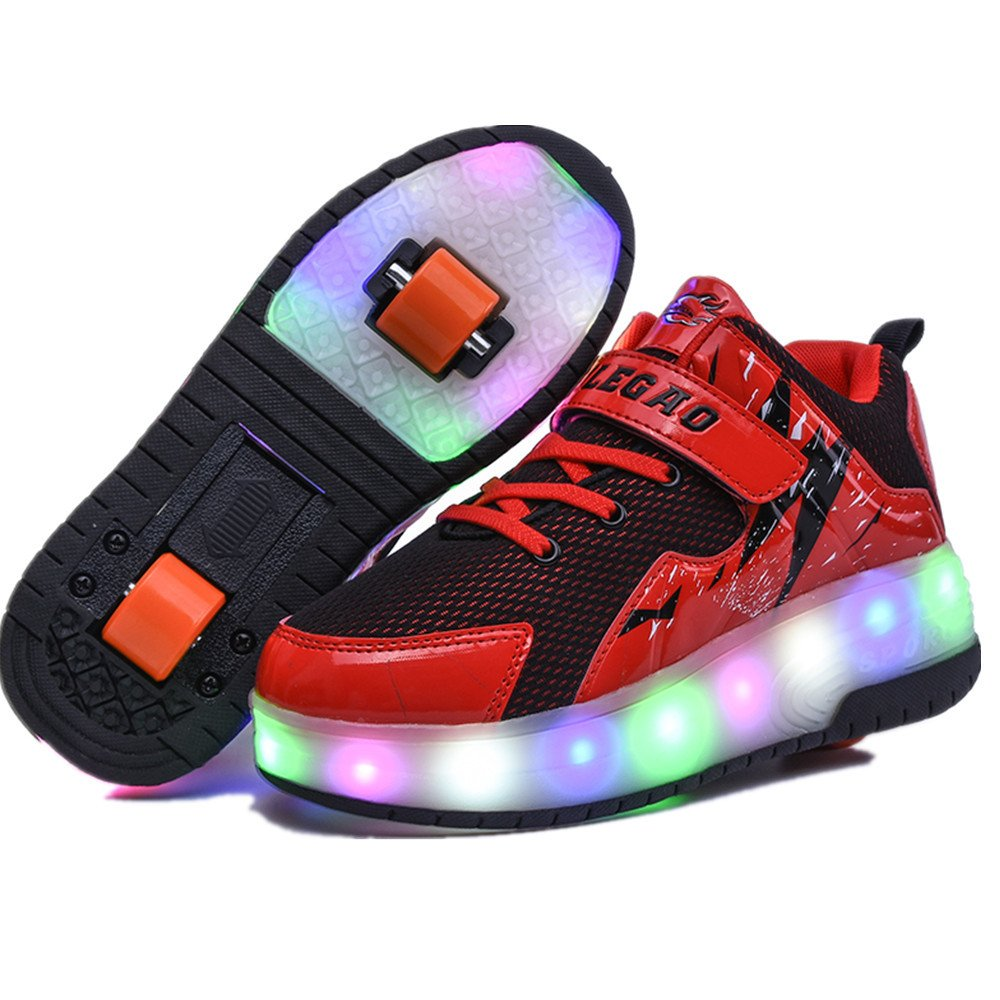 Hanglin Trade Boys Girls High-Top LED Light Up Single//Double Wheels Roller Sneakers Skate Shoes