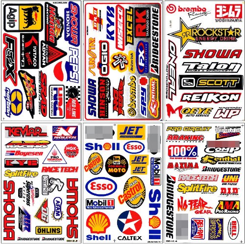 Graphic Racing Sticker Decal Motocross ATV Dirt 6 Sheets Set#5 Motocross Graphics