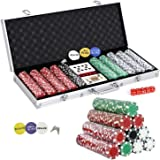 Smartxchoices 500 Poker Chip Set 11.5 Gram Dice Style Clay Casino Poker Chips w/Aluminum Case Cards Dices Blind Button for Te
