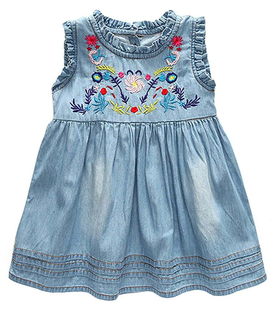 b9b934025 Amazon.com  KINDER365 Baby Girls  Toddler Denim Dress Outfits Tops ...