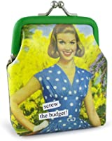 Anne Taintor Vinyl Kiss Lock Change Coin Purse - Screw The Budget.