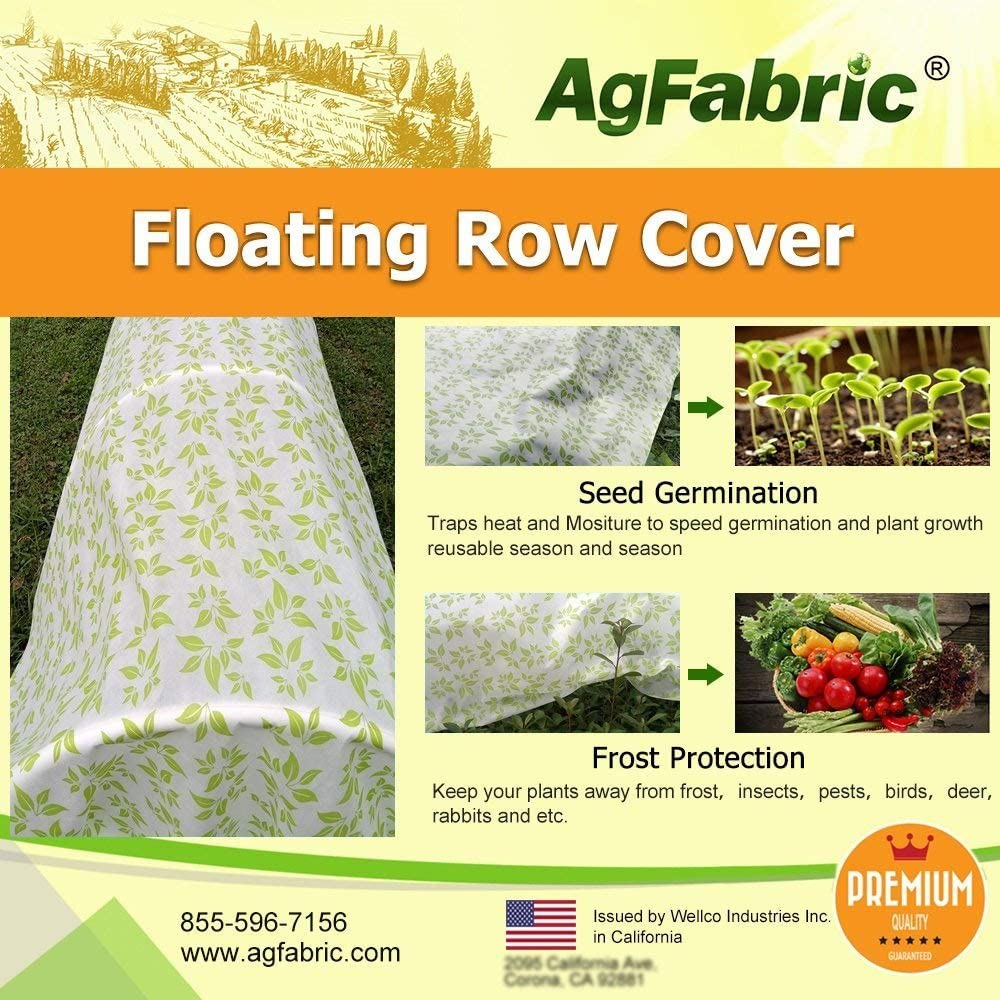 Agfabric Warm Worth Heavy Floating Row Cover & Plant Blanket, 0.9oz Fabric of 6x100ft with Green Leaves Pattern for Frost Protection & Harsh Weather Resistant