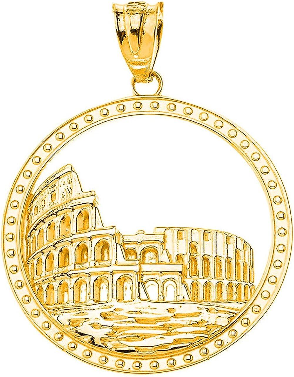 Certified 10k Gold Rome Colosseum Coliseum Italy Italia Roman Pendant