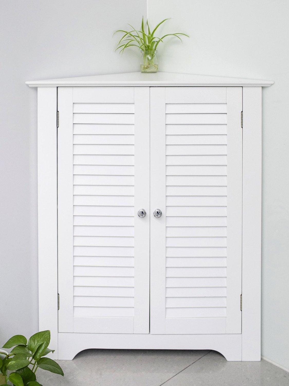 (NEW FOR SALE )Merax® Corner Cabinet Double Door Floor Bathroom Storage Cabinet Triangle Design, White