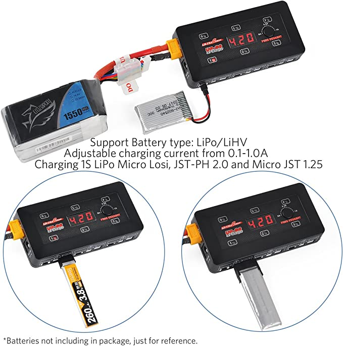 1S LiPo Battery Charger 6-in-1 Intelligent 1S Charger LCD Display Digital Battery Capacity Checker Quick Charge for LiPo//LiHV with Micro MX mCPX JST Connector
