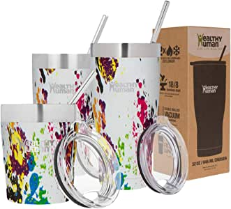 Healthy Human Insulated Stainless Steel Tumbler Travel Cruiser Cup with Straw and Lid 20 oz Art Deco