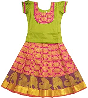 Pattu Pavadai Pure Silk Green And Pink For Baby Girls/Kids