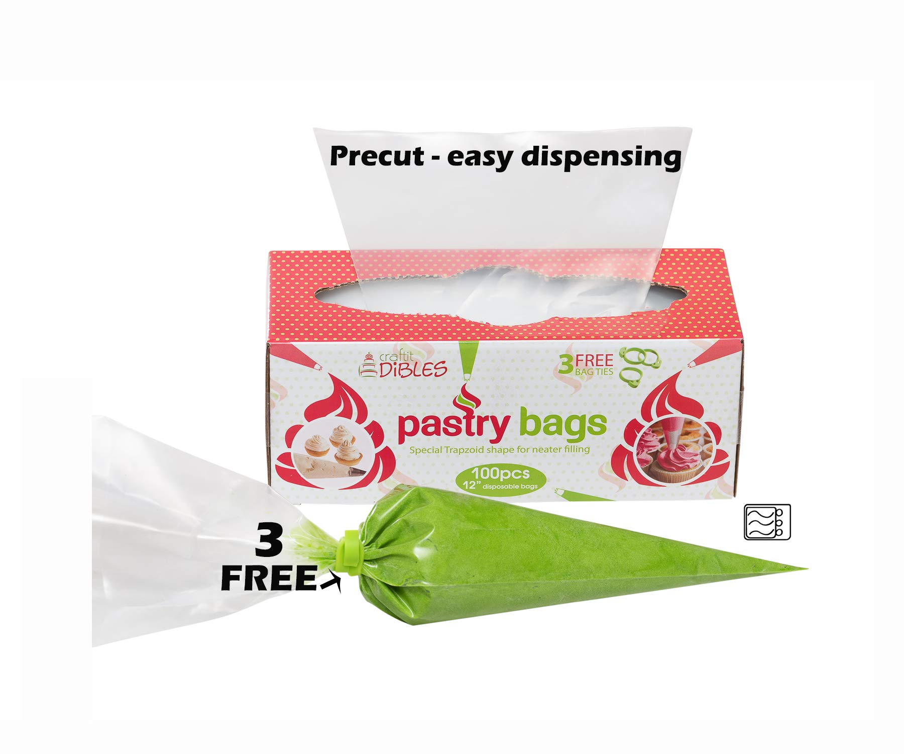 Piping Bags Disposable 100 Pack - 12 Inch Cake Decorating Pastry Bag Set in Dispenser box, With 3 Free Icing Bag Ties. Extra Thick Frosting Bags Microwave safe by CiE (100, 12 Inch)