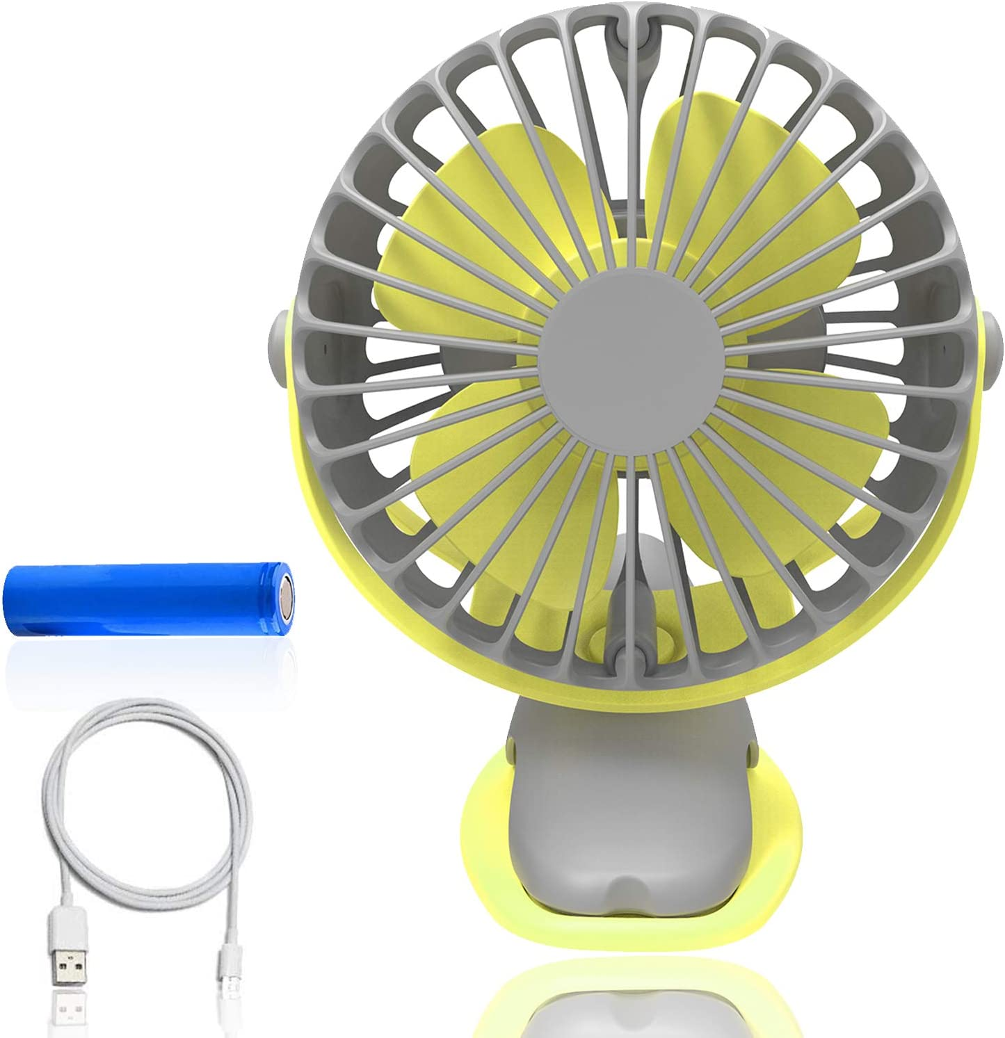 upHere Desk Fan, Rechargeable Battery Operated Clip on Fan with 4 Mode,360 Degree Rotation Portable USB Fan, Strong Wind Personal Fan for Stroller Car, Home Office Table,Camping – Yellow and Gray