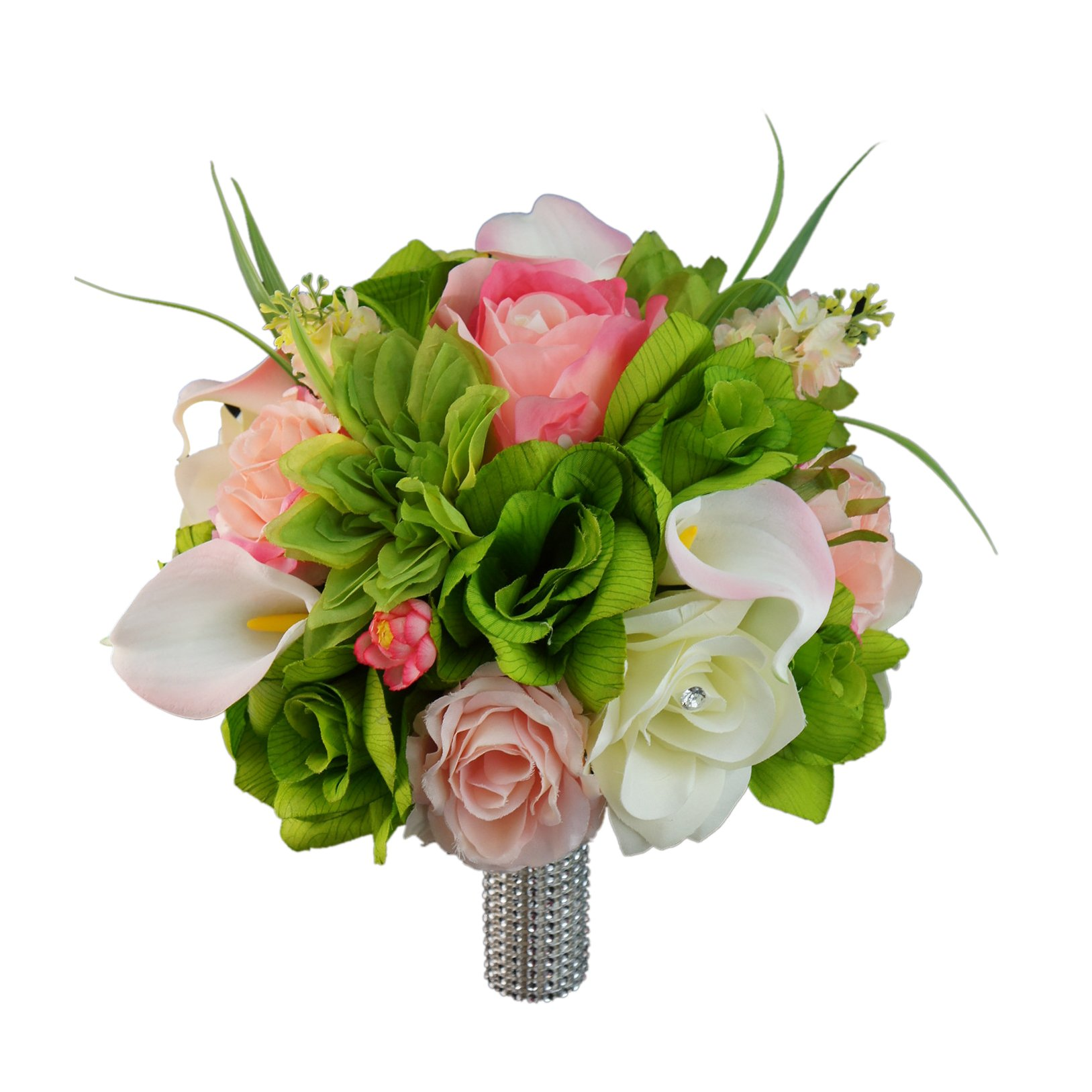 10'' Large Bouquet-shades of Green,pink,and Ivory.rose,lily and Greenery