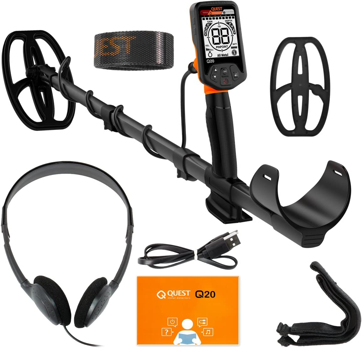 Quest Q20 Metal Detector with 9.5×5 TurboD Waterproof Search Coil