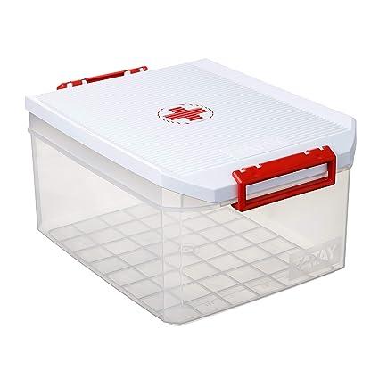 Tatay 1150110 Caja Botiquín Grande Primeros Auxilios Con Tapa, Blanco, 14 Litros