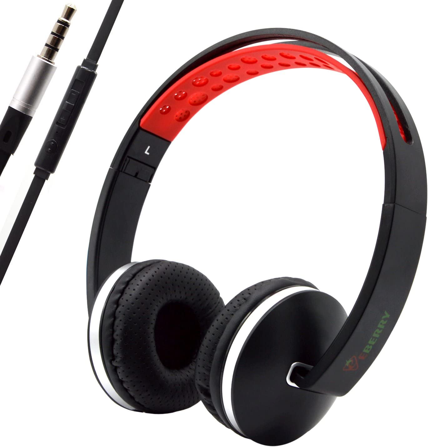 Bluelark Portable Foldable Over-Ear Adjustable Headphone - Powerful Bass Headset with Microphone & Inline Volume Control Perfect Workout Headphones for iPhone iPod Android Laptop Mp3/4