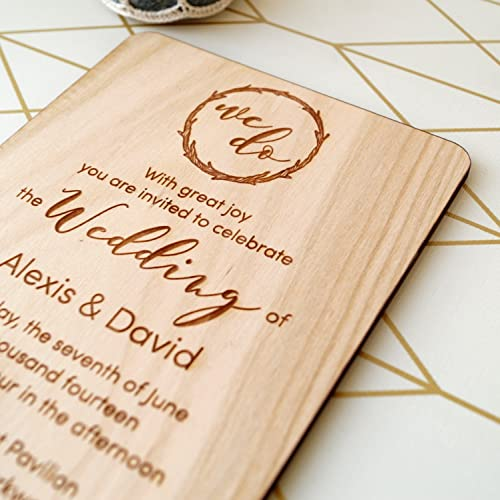Image result for wooden wedding invite