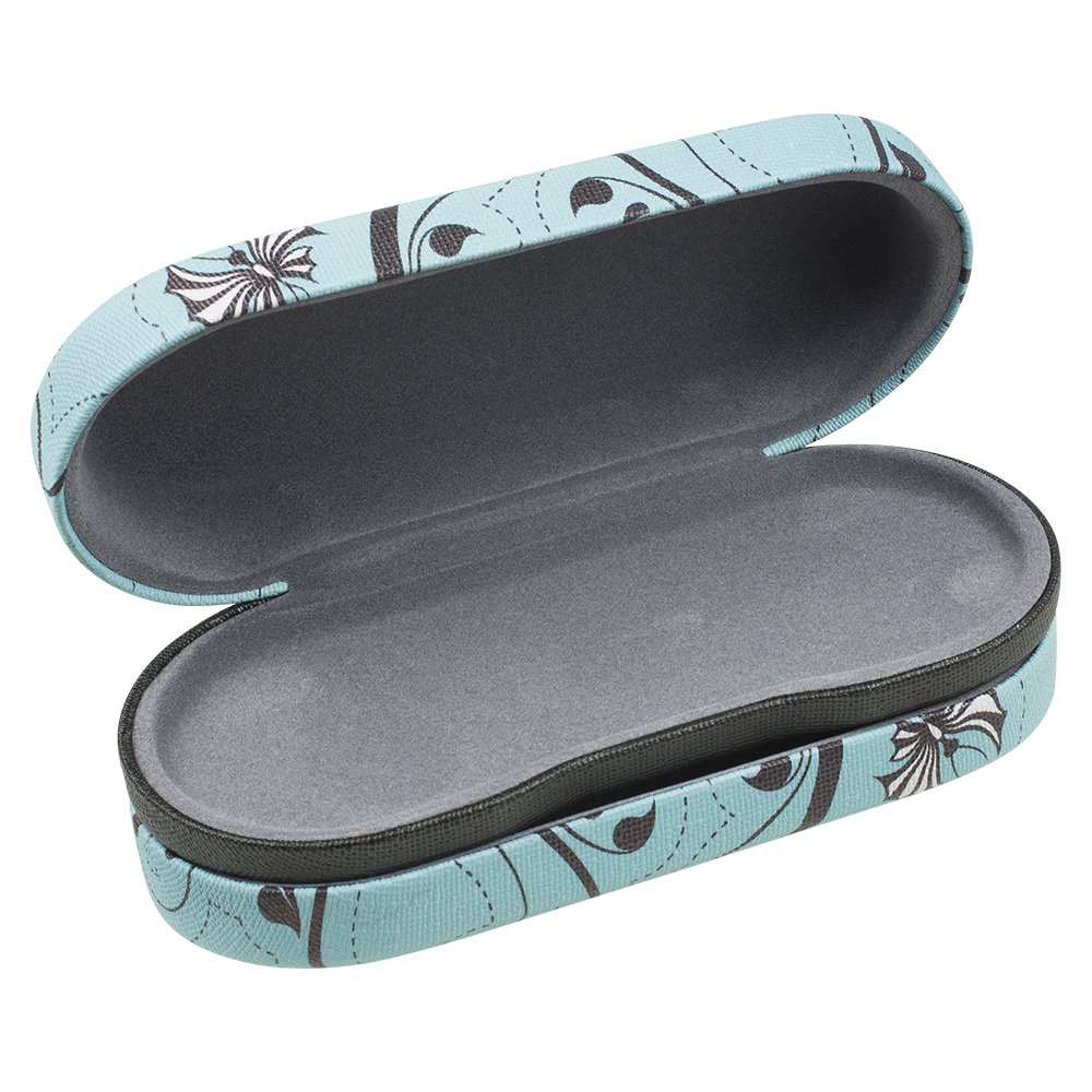 Dual Glasses Case for Two Frames - Double Layer Clamshell Hard Protective Case with Soft Felt Interior with Built-In Mirror – Blue and Gray Floral Swirl Canvas Print - By OptiPlix by OptiPlix (Image #4)