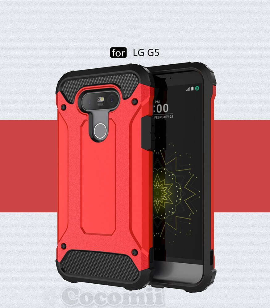 Cocomii Robot Armor LG G5 Case NEW [Heavy Duty] Premium Belt Clip Holster Kickstand Shockproof Hard Bumper Shell [Military Defender] Full Body Dual Layer Rugged Cover for LG G5 (R.Red) ROBOT-LG-G5-RED