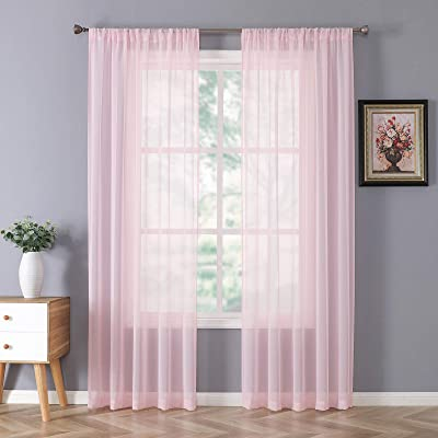 84 Inch Sheer Curtains White Rod Pocket 2 Panels Window Treatment Sunlight Filtering Privacy Sheer Voile Drapes for Bedroom Girls Room Nursery Backdrop 52x84