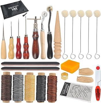 WOWOSS 33Pcs de Herramientas de Coser de Cuero Artesanía de Cuero Kit de Costura Manual de Bricolaje Con Ranurado, Punzón, Encerado, Hilo Dedal, Cuerda de Cera, Aguja de Cuero, Bolsillo de Cremallera: