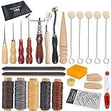 Kit di utensili in pelle WOWOSS 33pcs per cucire cucire con il sacchetto della chiusura lampo per DIY Craft Crafting in pelle