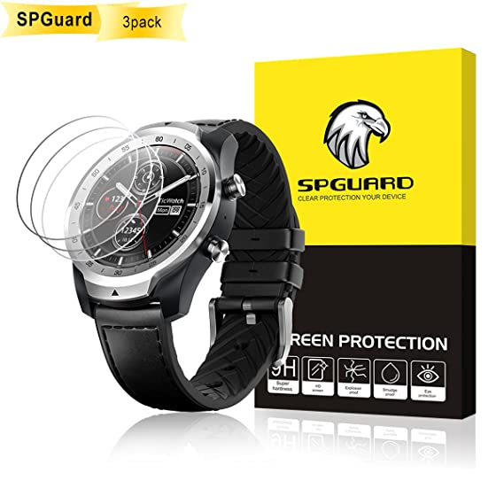 SPguard Compatible Ticwatch Pro Smartwatch Tempered Glass Screen Protector, [3 Pack] 2.5D Arc Edges 9 Hardness HD Screen Protector for Ticwatch Pro ...