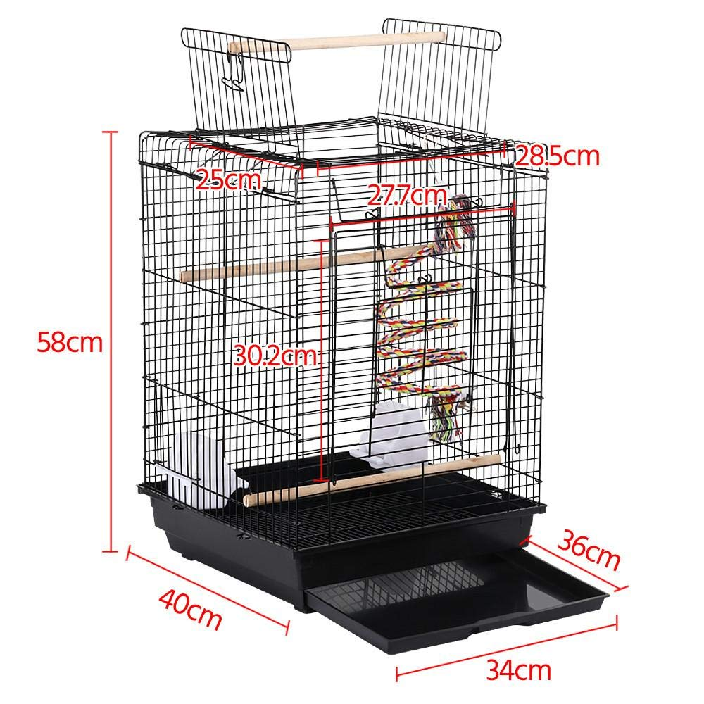 Yaheetech Open Top Metal Bird Cage For Budgie Lovebirds Green Cheek Canary Parakeet Cockatiel Small Parrot Travel Cage w//Open Play Top /& Toy 40 x 40 x 58 cm LxWxH