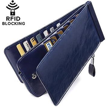 f430701b1 Huztencor Carteras Monederos billeteras RFID tarjeteros para Tarjetas de  credito Mujer Grandes Hombre Cuero Piel Azul: Amazon.es: Equipaje
